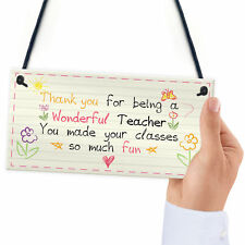 Wonderful Teacher Nursery School Thank You Hanging Plaque Sign Leaving Gift