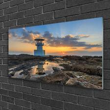 Wandbilder 100x50 Glasbild Druck auf Glas Leuchtturm Landschaft