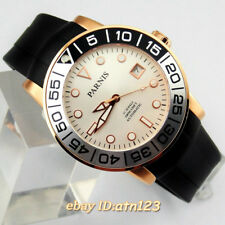 Parnis 42mm white dial sapphire rubber strap miyota automatic men's wristwatches