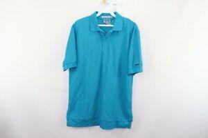 NOS Vintage 80s Levis Mens Medium Spell Out Short Sleeve Golf Polo Shirt Blue