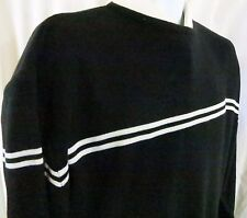 Bugle Boy XL Black Sweater White Stripes Acrylic