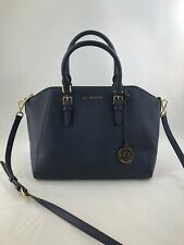 New Authentic Michael Kors Large Leather Ciara Top Zip Satchel Handbag Navy Blue