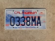 """CALIFORNIA - """"WE WILL NEVER FORGET"""" - LICENSE PLATE - 911"""