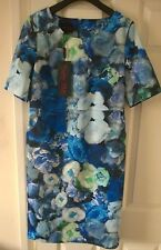 Daisy May Stretchy Blue Designer Dress in Floral prints