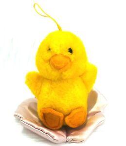 "Dakin Mini Baby Chick 4"" Plush 1983 Chick On Pink Flower Stuffed Toy Easter"