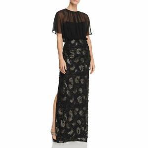 Aidan Mattox Womens Formal Mesh Evening Dress Black 4