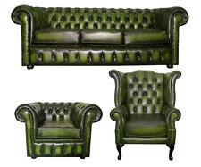 Divano Chesterfield Pelle tre posti con la Queen Anna e Club Sedia Verde Antico
