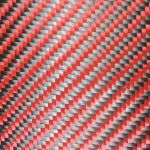 Tessuto ibrido in vera fibra carbonio e aramide kevlar 190 g/m² 3k TWILL rosso
