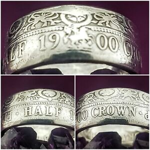 Silver Coin Ring Size Y .925 Silver 1900 Halfcrown Coin Ring