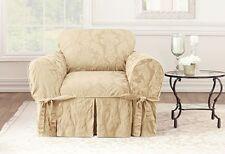 Matelasse Damask One Piece Slipcovers box-cushion Chair Cream sure fit