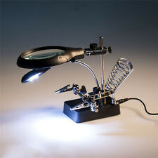 2.5X 7.5X 10X Helping Hand Soldering Stand With LED Light Magnifying Glass Tool