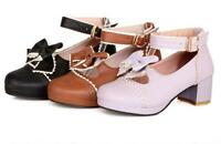 Womens Round Toe Mary Janes Shoes Ankle Strap Lolita Cosplay Bowknot Block Pumps