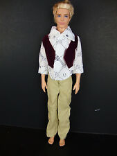 Ken Doll 2 Pc Outfit Tan Pants and White Shirt with Vest Made to Fit the Ken Dol