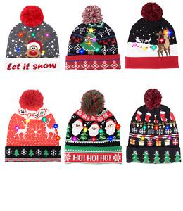 Women Men Unisex Christmas LED Flashing Light Hat Beanie Knitted Xmas Pom Cap