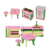 1/12 Dollhouse Miniature Wooden Colorful Furniture Kits For Kitchen Ornament