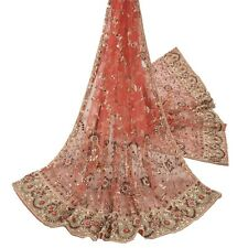 Sanskriti Vintage Pink Heavy Dupatta Net Mesh Hand Beaded Zari Work Stole