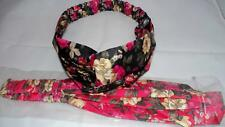 Two new fabric headbands with flower print. Twisted knot front, elastic back
