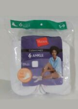 Hanes Cushioned Ankle Socks White 6 pk Womens - Shoe Size 5-9   ( NEW )