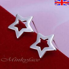 Silver 925 Sterling Shiny Star Stud Earrings Ladies Girls Free Gift Bag
