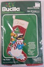 Vintage Bucilla Felt Mr. Frosty Snowman Christmas Stocking Kit 2809