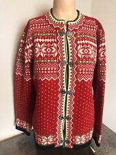 Susan Bristol Woman's Size Medium Wool Cardigan Sweater Metal Clasp Fair Isle