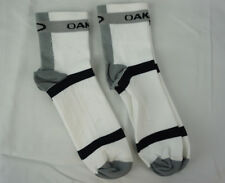 (2 Pairs) Oakley Crew Compression Cycling Socks White Large New