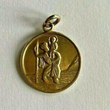 9ct Gold Saint Christopher Pendant Yellow Gold St. Chris Round Travel Hallmark