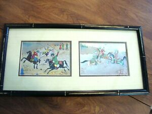 2 Vintage Asian Watercolor Painting - Chinese/Japanese - Framed artwork