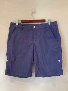ESPRIT Size 12 Womens Blue Casual Chino Shorts Zip Fly Fold Up Hem Pockets