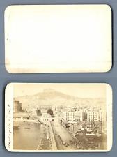 Italie, Naples, vue prise du Pont  CDV vintage albumen.Vintage Italy. Napoli