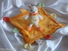 Doudou chat orange et jaune, carré, grelot, Baby Nat, (Babynat)