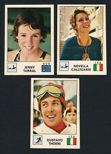 Lot x3 RARE 1975 Panini Sport Vedettes OLYMPIC CARDS Swimming Skiing Sports Vtg.