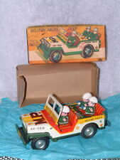 RARE, VINTAGE MITSUHASHI MILITARY POLICE TIN FRICTION DRIVEN JEEP W/BOX!