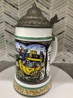 VTG BMF Bierseidel Colorful German Beer Stein Mug White Milk Glass PEWTER LID