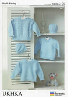 Baby Sweaters and Hat  Double knitting pattern. (Prem - 12mths ) -UKHKA108