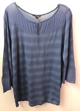 Lucky Brand XL Peasant 3/4 Sleeve Cotton Knit Tunic Top Boho Festival Euc