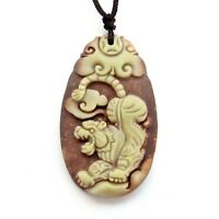 Two Layer Natural Stone Happy Lucky Chinese Zodiac Tiger Money Amulet Pendant