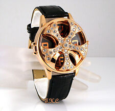 XL Gents Black Leather Gangster Rapper Pimp Spinner Ice Bling Crystal Gold Watch