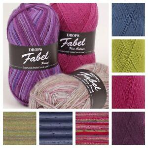 New DROPS Fabel Superwash Treated Sock Wool Knitting Yarn Nordic Crochet