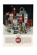 VINTAGE GULF MOTOR OIL GAS PUMPS GULFPRIDE TIRES BATTERY WIPER BLADES AD PRINT