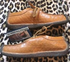 Clarks 1980s Women Natalie Wallabees~Embossed Brown Leather~Handcrafted~Mint~ 5 M