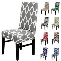 1/4/6/8x Geometric Spandex Stretch Dining Chair Covers Seat Protector Slipcovers
