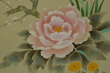 Hanging Scroll Japanese Painting Peony Flower Picture Japan Asian Fine Art u71