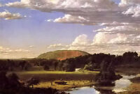 Oil painting frederic edwin church - west rock, new haven field landscape canvas