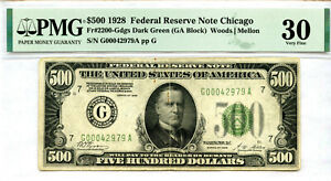$500 1928 Federal Reserve Note Chicago...Dark Green (GA block)..PMG 30 Very Fine