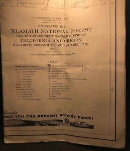 Vntage Klamath National Forest Map 1968 Lot M60