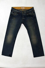 GUESS MENS FADED JEANS DENIM BLUE STRAIGHT LEG FRAYED Distressed W36 Dirty wash