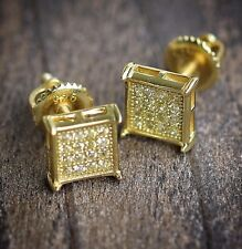 Small square yellow gold lemonade canary micro pave cz stud earrings size 7mm