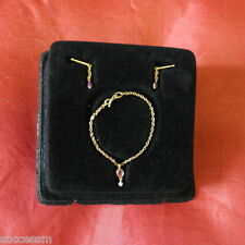 Franklin Mint Doll Jewelry Titanic Gold Pink Stone Set Earrings And Necklace