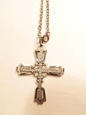 Silver colored chain necklace with silver colored modern style cross pendant
